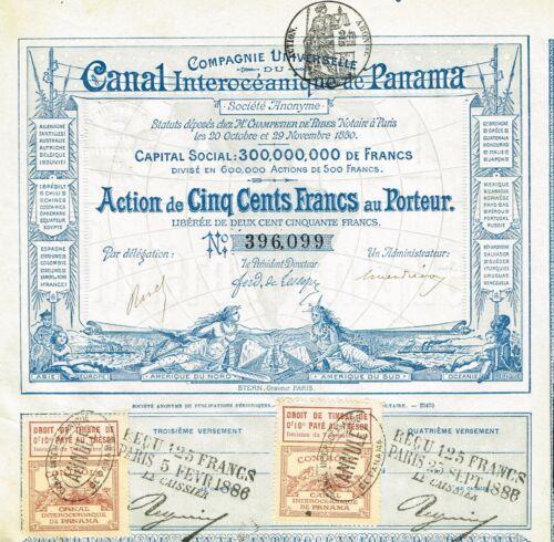 THE PANAMA CANAL stock certificate/bond 1880