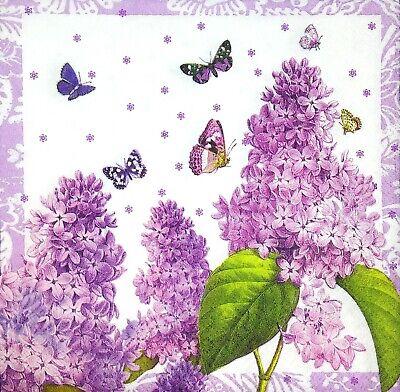 3 x Single Paper Napkins For Decoupage Craft Purple Lilacs Butterflies