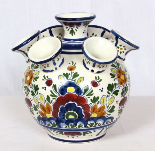 Delft Multi-color Tulip Vase