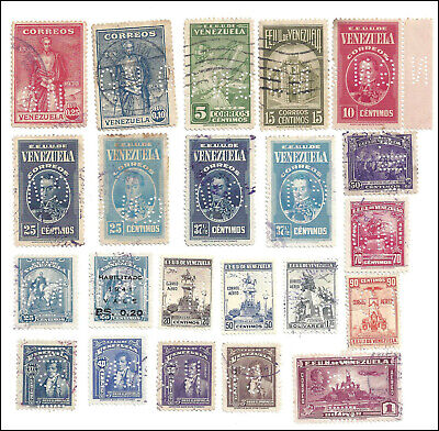 VENEZUELA - Perfin GN on commemorative issues of 1930's - 22 different stamps