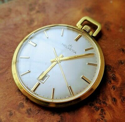Vintage Helvetia Gold Plated 17 Jewel Open Faced Pocket Watch - Working
