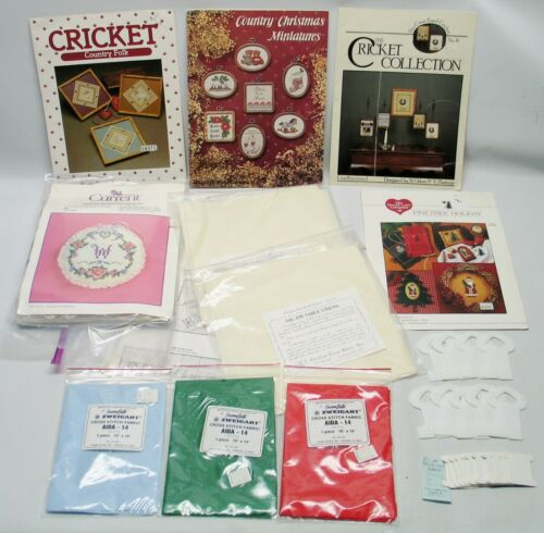 LOT: COUNTED CROSS STITCH fabric,charts,leaflet,graph-it system,floss holders