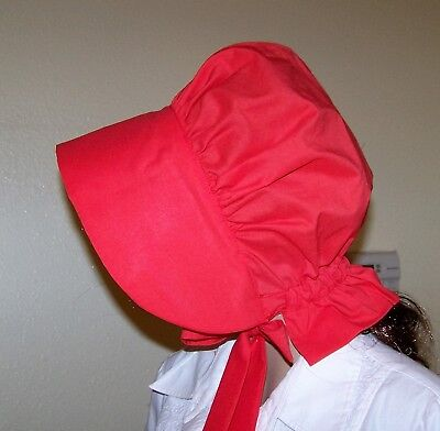 LADIES BONNET  Western CIVIL WAR,THEATER, 100% COTTOR  RED SOLID
