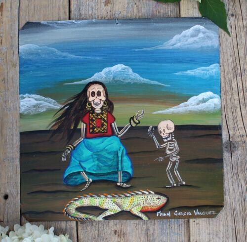 Day of the Dead Tin Retablo Tehuana Skeleton & Child Oaxaca Mexican Folk Art