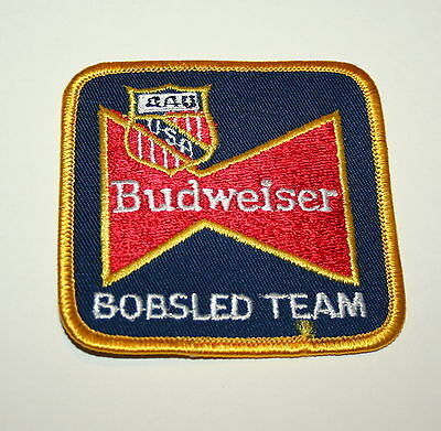 Vintage Budweiser Bobsled Team Beer Distributor Cloth Patch 1990s NOS New