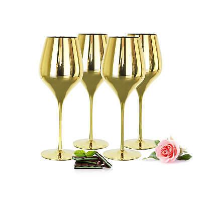 4 verspiegelte Weingläser 600ml in Gold Rotweingläser Weißweingläser Weinkelch Gold Gläser