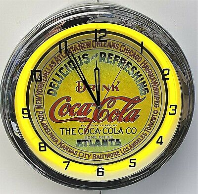 "16"" Drink Coca-Cola Delicious and Refreshing Coke Yellow Sign Neon Clock"