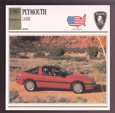 1989-1993 Plymouth Laser RS Hatchback Car Photo Spec Sheet CARD 1990 1991 1992 1990 Plymouth Laser Specs