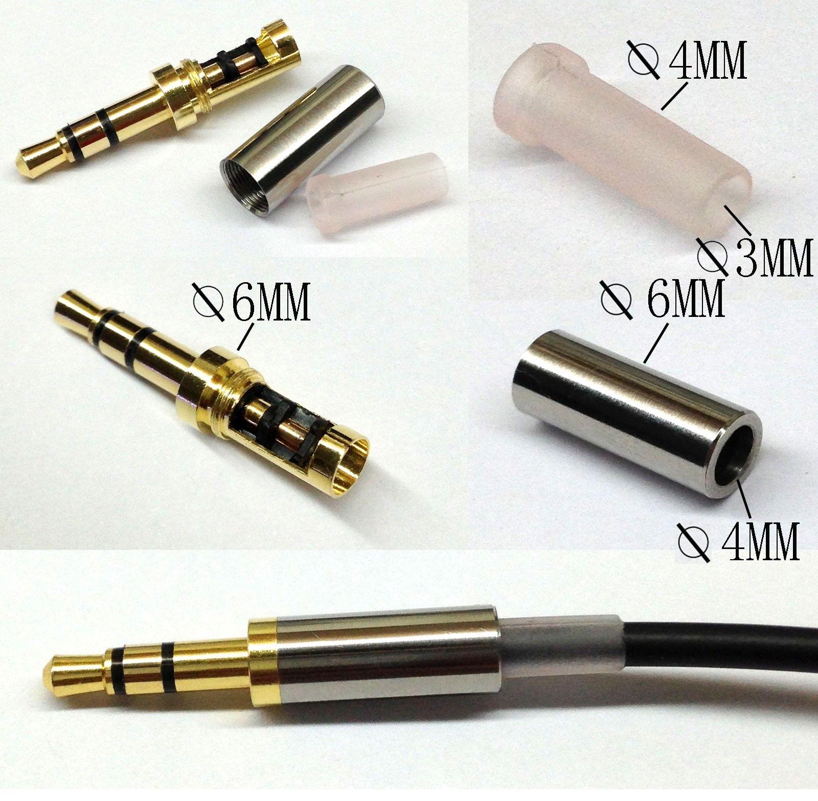 Gold 3 Pole 3.5mm Male Repair headphone Jack Plug Metal Audio Soldering & Spring