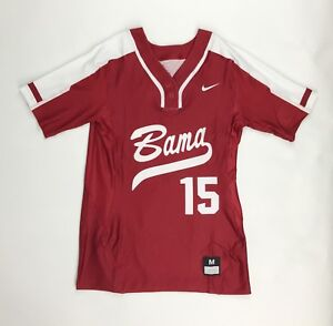 New Nike Alabama Tide Two-Button Henley Women's M Softball Game Jersey Maroon