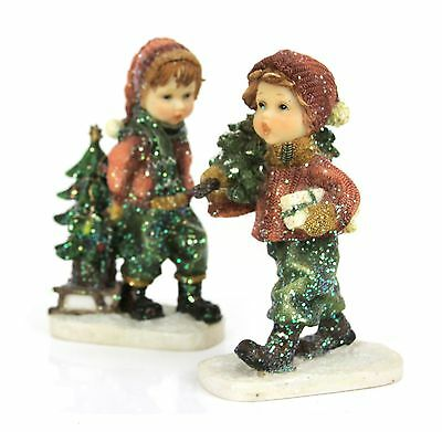 Mark Roberts Boy & Girl Bringing Home Christmas Tree Figurines Holiday Decor 7""