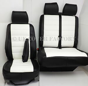 VW Transporter T5 Van Seat Covers White Black Quilted