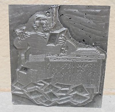 Vintage Printing Letterpress Printers Block Man Smoking Reading Desk