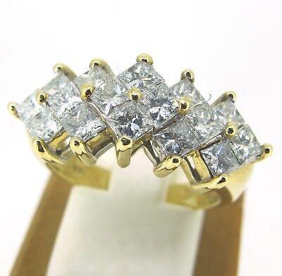 Ct Tw Princess Diamonds Band - 1.92 ct tw Diamonds Princess Cut 14k Yellow Gold Cluster Ring Band Size 7