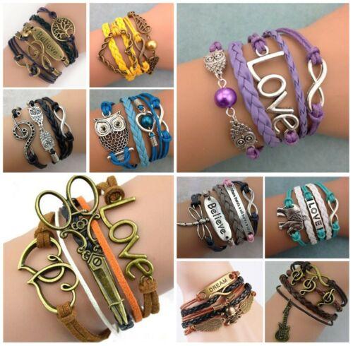 20Pcs/lot Jewelry fashion Leather Cute Infinity Charm Bracelet lots style
