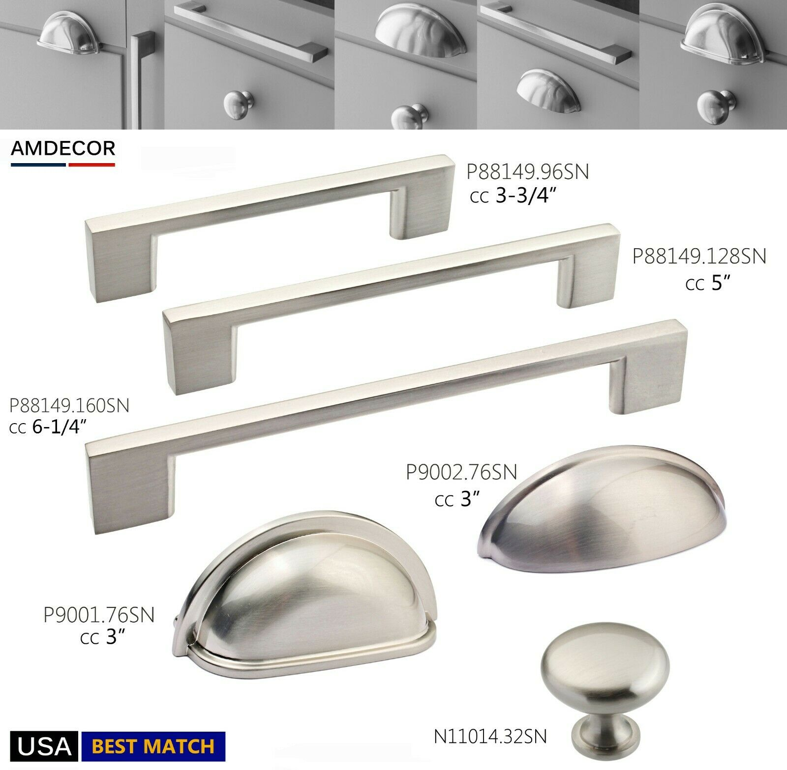 *10 Pack* Cosmas Cabinet Hardware Satin Nickel Handle Pulls #7063SN