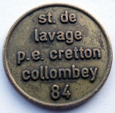 SWITZERLAND ST. DE LAVAGE P.E. CRETTON COLLOMBEY 84 Car Wash Token 20mm HH2.5