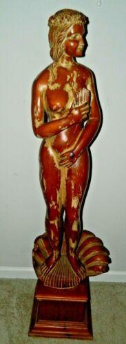 "59"" Wood Carved Naked Mermaid Girl Sculpture Hawaiian Tiki Bar Art Sarreid Spain"