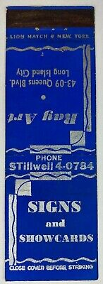 Signs And Showcards Ray Art Long Island City New York Vintage Matchbook Cover