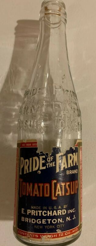 Pride Of The Farm Catsup Vintage 1940s Embossed Clear Glass Bottle Bridgetown NJ