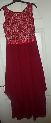 (PROM DRESS RED LACE  CHIFFON SKIRT  CALF LENGTH OR FULL LENGTH 12 -14 PRESENT)