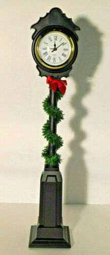 """Byers Choice Street Tower Clock with Garland 18 1/2"""" 2011 NOS"""
