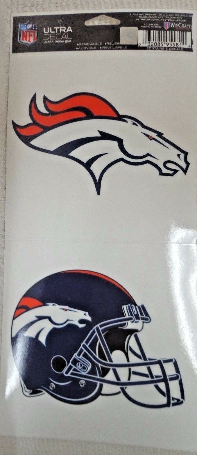 NFL Ultra Decals 2 Pack Set Removable Reusable Sticker Wincraft Denver Broncos