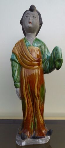 LARGE ANTIQUE SANCAI FIGURINE OF A LADY CHINESE POTTERY 19TH CENTURY TANG