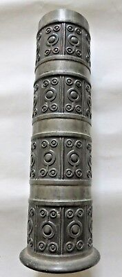A Modernist pewter Haugrud Norway cylindrical vase