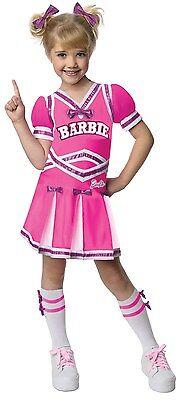 CHEERLEADER BARBIE Costume Girls Pink White Dress + Bows Socks Child Small 4 5 - Girls Barbie Costume
