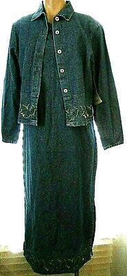 New BTB Better than Basic PM floral embroidered 2 piece denim dress &