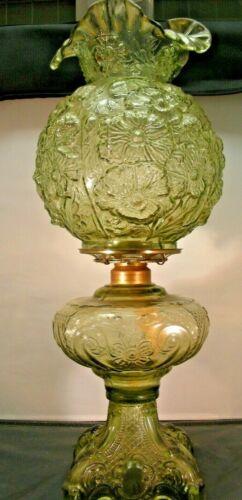 "Green ""Poppy"" Kerosene lamp w/Matching Globe Fenton?"