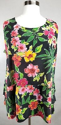 CATHERINES BLACK PINK FLORAL PRINT SLEEVELESS TIERED KNIT TOP PLUS Sz 3X 26/28W