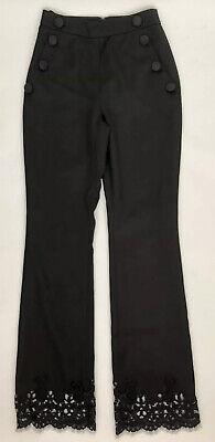 Huishan Zhang Women Pants Size 2 NWT Black Lace Details 100% Silk Lining