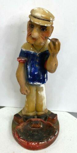 Vintage Popeye The Sailor Carnival Chalkware Cigar Ashtray Statue