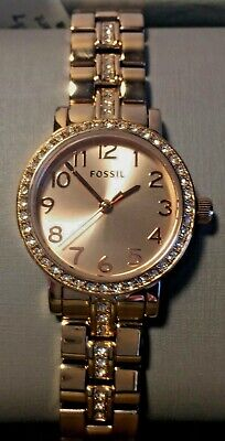 Fossil Women's Watch Rose Gold Tone Sparkling Glitz Mini Shae 3 Hand Sunray Dial