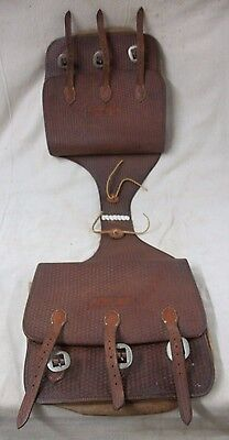 Vintage Western THROW OVER Tooled Leather SADDLE BAGS Cowboy Stelzig Saddlery Co