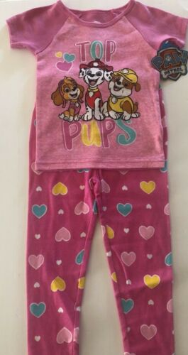 Paw Patrol Toddler Girl Short Sleeve Pajama 2-Piece Set Size 3T Pink Hearts New