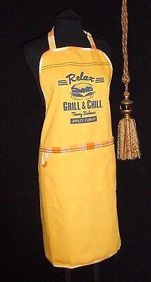 USA Full Bib Apron Tommy Bahama Cotton Duck Yellow Relax Grill & Chill NWOT Cotton Duck Bib Apron