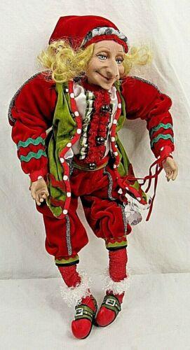 """Poseable Elf Jester Long Nose Red Velvet Christmas 18"""""""