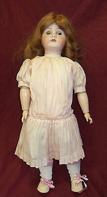 """Antique Large 22"""" German Bisque Head Composition Body Girl Doll w/ Sleep Eyes"""