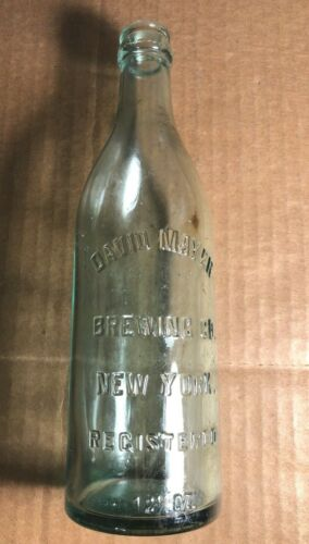 Vintage 12.25 oz Glass Embossed Beer Bottle | David Mayer Brewing Co. | New York