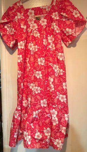 NWOT Winnie Fashion MuMu Dress Red Pink & White Floral Made in Hawaii ~ Large