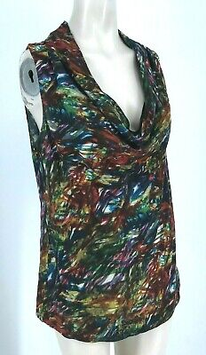 THEORY - WOMEN'S LARGE - MULTICOLOR SLEEVELESS DRAPE FRONT SILK TOP BLOUSE