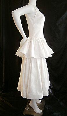 FANCY NY DESIGNER WEDDING GOWN DRESS 6- 8 SILK VINTAGE INSPIRED IVORY CREAM