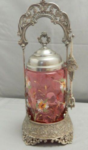 ANTIQUE CRANBERRY FLORAL ENAMEL COIN DOT PICKLE CASTOR JAR WITH TONGS