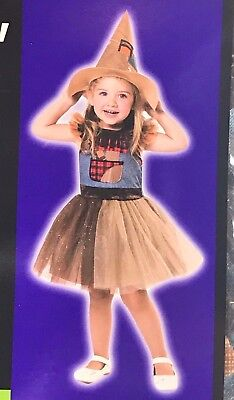 Toddler Lil' Scarecrow Costume Size 2T/4T Girls Dress & Hat NWT (H-05) (Toddler Scarecrow Hat)