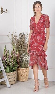 Hope & Ivy Red Midi Dress (UK 10, New with Tags)