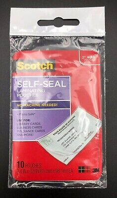10 Count Laminating Pouches Self-seal 2 X 3.5 - Scotch New