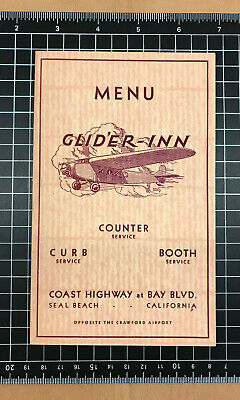 1930's Original Vintage Menu GLID'ER INN Restaurant Seal Beach- Crawford Airport